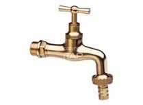 rubinetto erogatore curvo in ottone lucido con portagomma