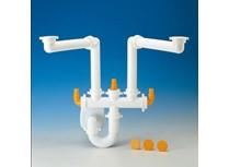sifone spazio 2 per lavello inox 2 vasche con scarico � 40 mm bi