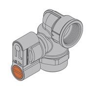valvola a squadra gas con chiave e presa di pressione