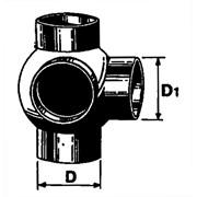 braga a sfera doppia a 90° pehd con 2 derivazioni ø110/110