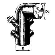 curva vaso prolungata 4 attacchi con tappo laterale ø 110/50/125