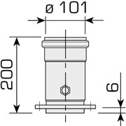 prolunga verticale 200 mm ø 60/100 c/presa fumi per uniqa